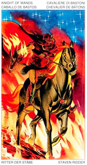 Caballo de Bastos 02 - Arcanos Menores - Golden Dawn Tarot