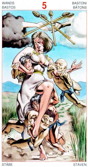 Cinco de Bastos - Arcanos Menores - Golden Dawn Tarot
