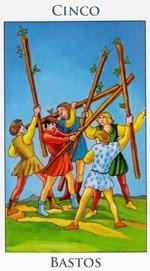 Cinco de Bastos - Arcanos Menores del Tarot - Radiant