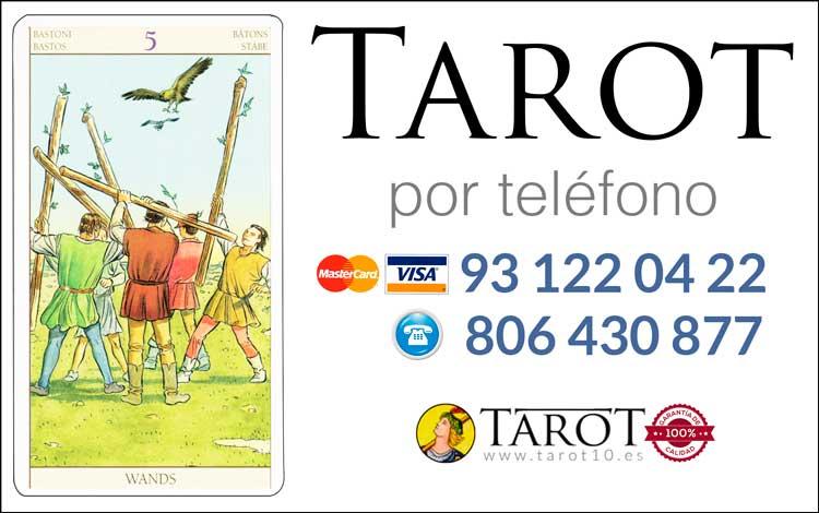 Cinco de Bastos de los Arcanos Menores del Tarot - Tarot por Teléfono