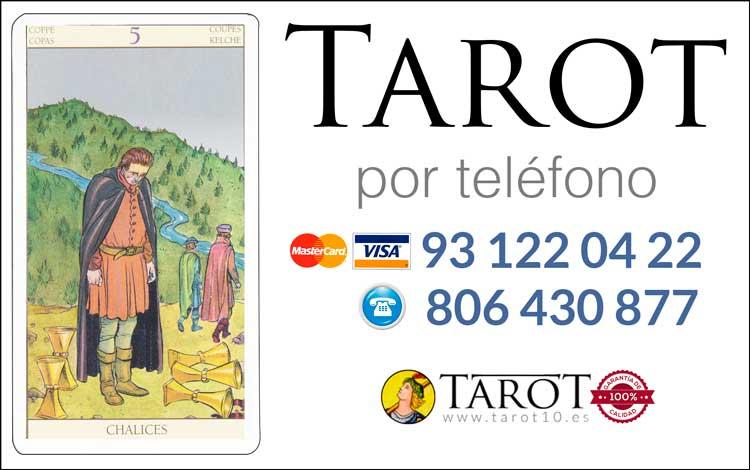 Cinco de Copas de los Arcanos Menores del Tarot - Tarot por Teléfono