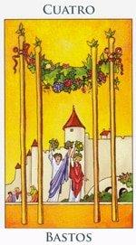 Cuatro de Bastos - Arcanos Menores del Tarot - Radiant