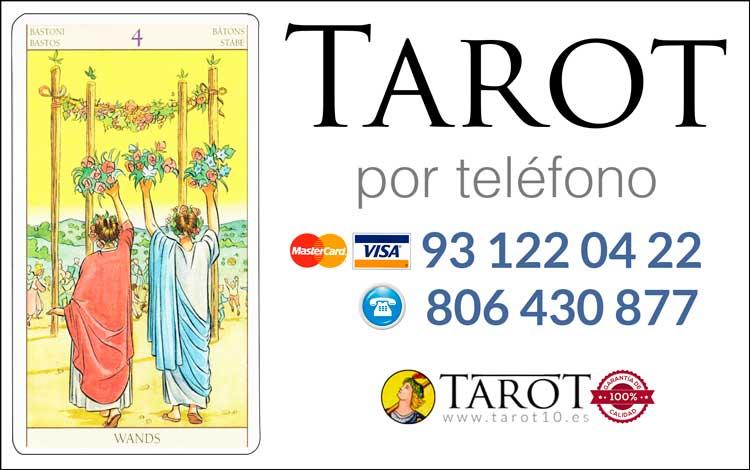 Cuatro de Bastos de los Arcanos Menores del Tarot - Tarot por Teléfono