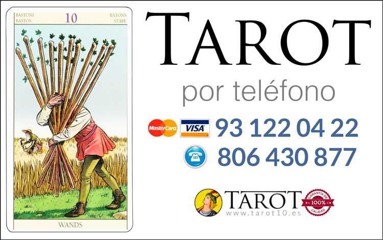 Diez de Bastos de los Arcanos Menores del Tarot - Tarot por Teléfono