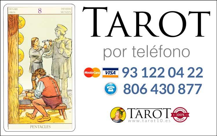 Ocho de Oros de los Arcanos Menores del Tarot - Tarot por Teléfono