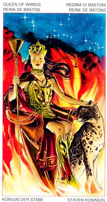 Reina de Bastos - Arcanos Menores - Golden Dawn Tarot