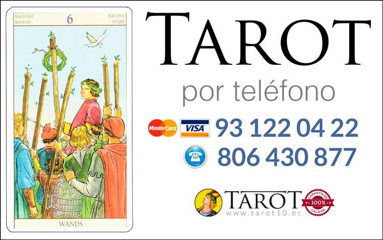 Seis de Bastos de los Arcanos Menores del Tarot - Tarot por Teléfono