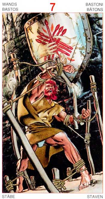 Siete de Bastos - Arcanos Menores - Golden Dawn Tarot