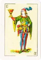 Sota de Copas en posición Vertical - Tarot10