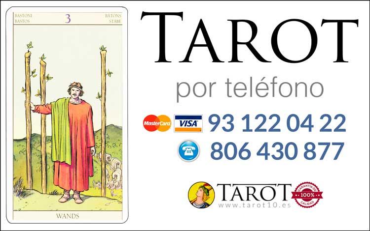 Tres de Bastos de los Arcanos Menores del Tarot - Tarot por Teléfono