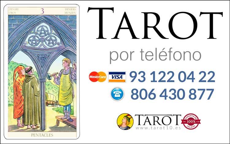 Tres de Oros de los Arcanos Menores del Tarot - Tarot por Teléfono