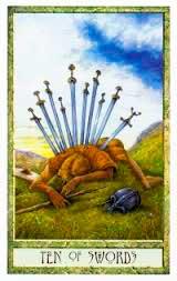 10 de Espadas en posición invertida - Tarot10