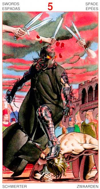 Cinco de Espadas - Arcanos Menores - Golden Dawn Tarot