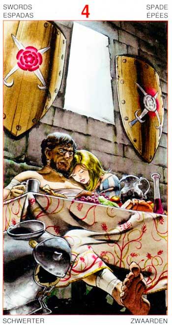 Cuatro de Espadas - Arcanos Menores - Golden Dawn Tarot