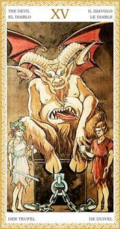 El Diablo - Arcanos Mayores del Tarot Dorado