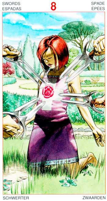 Ocho de Espadas - Arcanos Menores - Golden Dawn Tarot