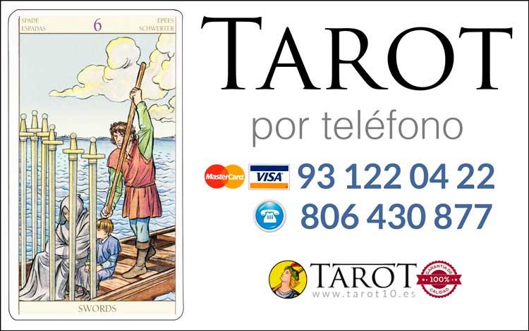 Seis de Espadas de los Arcanos Menores del Tarot - Tarot por Teléfono