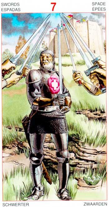 Siete de Espadas - Arcanos Menores - Golden Dawn Tarot