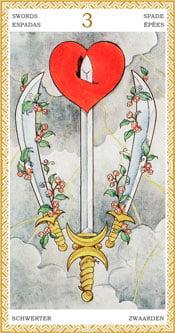 Tres de Espadas - Arcanos Menores del Tarot