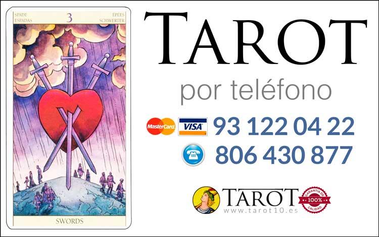 Tres de Espadas de los Arcanos Menores del Tarot - Tarot por Teléfono