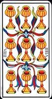 Nueve de copas en una tirada de Tarot - Tarot10